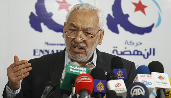 Rached Ghannouchi, leader of the Islamist Ennahda movement, Tunisia's main Islamist political party, speaks during a news conference in Tunis