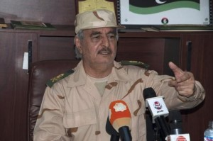 Ex-general Khalifa Haftar speaks during a news conference after surviving an assassination attempt, in Al Marj