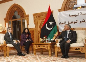 Nouri Abusahmain, the head of Libya's General National Congress meets with Bernardino Leon Special Representative United Nations for Libya in Tripoli