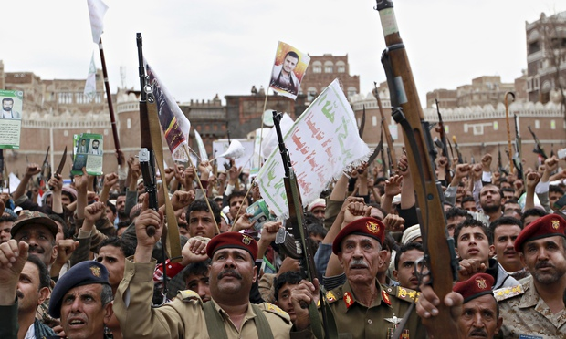 sanaa yemen rebels rally