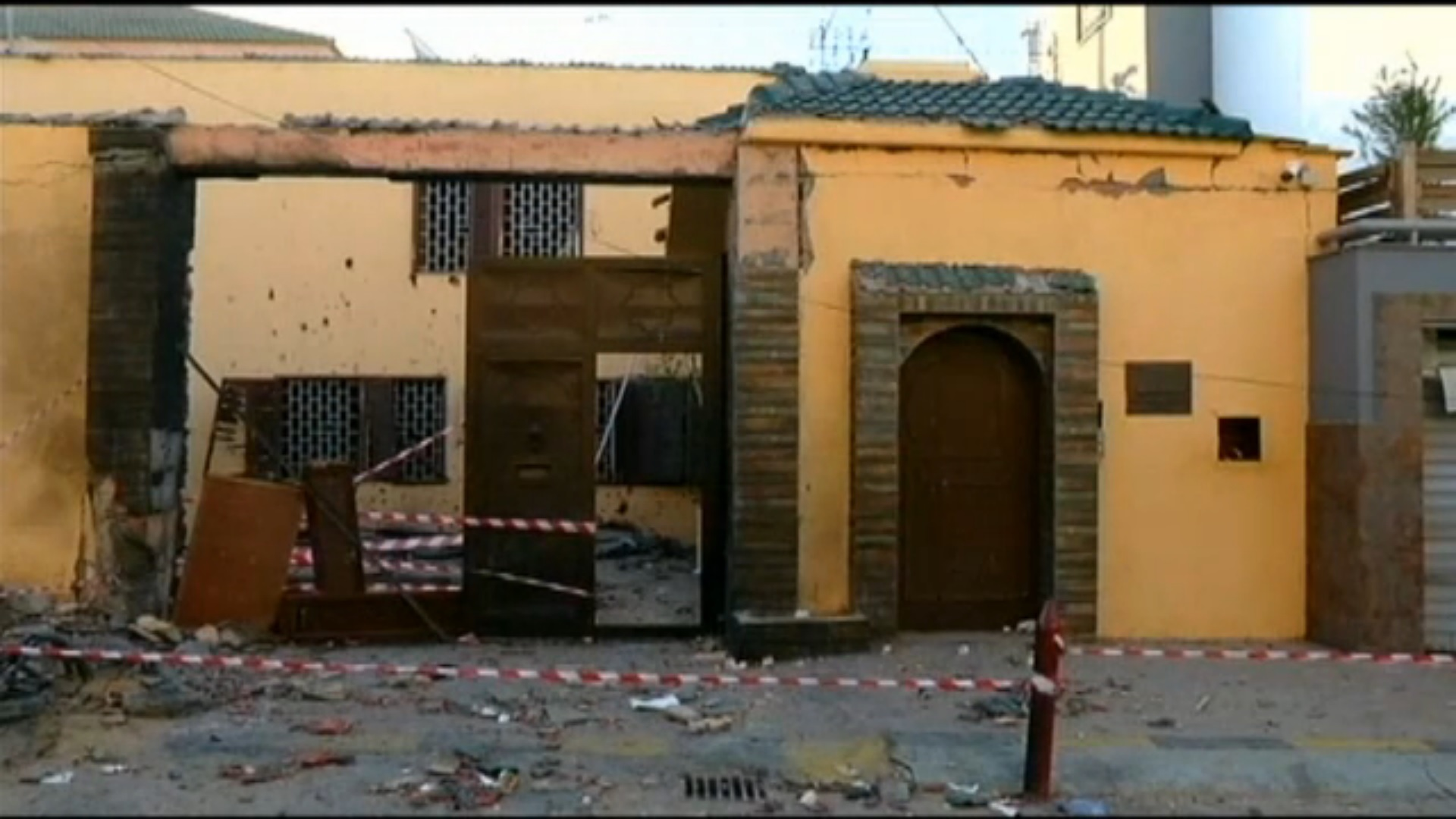 Moroccan Embassy in Tripoli after militants bombed the gates. Photo Credit: NBC