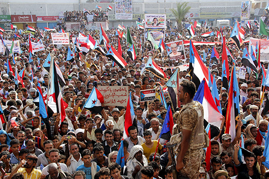Supporters of the separatist Southern Movement demonstrate to demand the secession of south Yemen, in the southern port city of Aden
